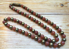 Pretty Glass/Stone Bead Necklace/Orange/Brown/Brass/Hippy/Boho/Natural Stone?