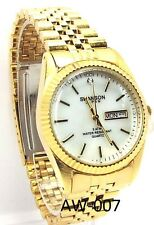 Swanson Men White Mother of pearl  Dial, Gold-tone Dress Watch