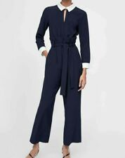 ZARA WOMEN CUTE BLUE CONTRAST OPEN BACK JUMPSUIT WITH BELT NEW WITH TAG SIZE S