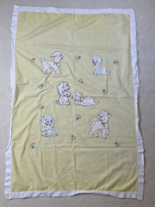Vintage Handmade Yellow & White Baby Sheet/Blanket-Embroidered Kitten,Puppy,Lamb