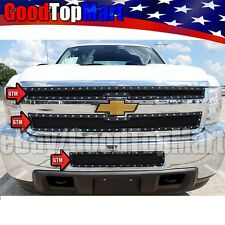 For CHEVY Silverado 2500HD 3500HD 2011-2014 Black Mesh Rivet Grille 3PC Combo