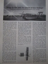 6/1981 ARTICLE 4 PAGES SOLAR CHALLENGER AVION ENERGIE SOLAIRE MACCREADY