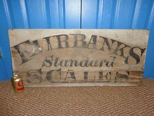 """Outdoors Vintage Wood """"Fairbanks Standard Scales"""" Advertising Sign, Man Cave"""