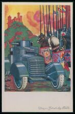 Advertising Pirelli tyres for tank automobile in WWI ww1 war old 1920s postcard