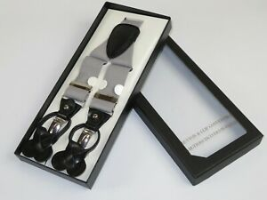 ELEGANT Suspenders Clip on and Button Option for Slacks or Suit Pants Silver
