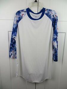 Mens Adidas XL White Baseball print sleeves 3/4 Sleeve Shirt blue