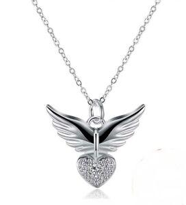 Anhänger + Kette, Herz mit Engelsflügel, Schutzengel 925 Silber, Zirconia ,NEU