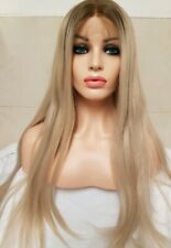 Silver Ash light blonde, human hair wig, Lace Frontal, blonde ombre roots