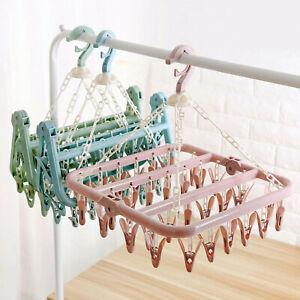 32Clip Foldable Clothes Hanger Sock Dryer Organizer Underwear Rack Airer