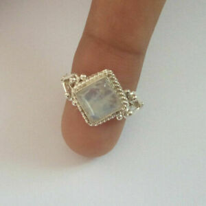 Fashion Jewelry 925 Silver Ring for Women Moonstone Band Party Jewelry Size 6-10