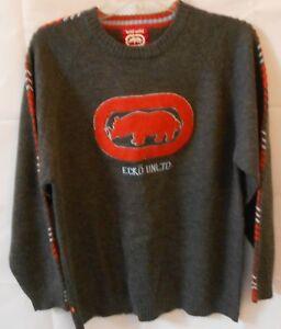 Ecko Boys Young Teen Large Wool Blend Crew Neck Sweater Gray with Orange Rhino