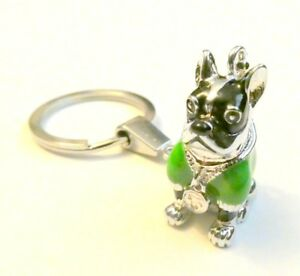 Bulldog Green Enamel Charm Pendant Keyring Key ring  - Fast UK Posting