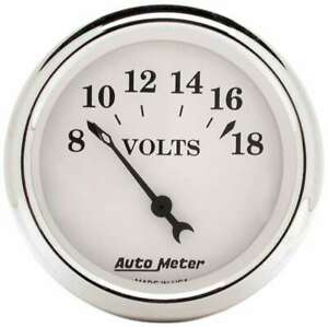 Auto Meter Old Tyme White 2 1/16in Voltmeter 8-18