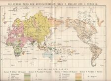 c. 1890 DISTRIBUTION of HUMAN RACES in the WORLD Antique Map