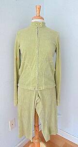 Juicy Couture 2-pc light green terry track suit capri pants (S) zip jacket (L)