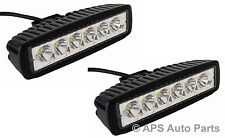 2x 18W 6 LED Slim Spot Beam Work Light Lamp Bar Tractor Jeep Truck Boat 12V 24V