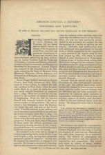1888 Civil War Fort Donelson Lincoln Nicolay Tennessee Kentucky Vintage Article