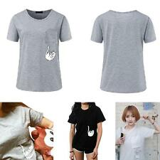 Women Summer Print Pocket Cat T Shirt Harajuku O-neck Short Sleeve Couple Tee
