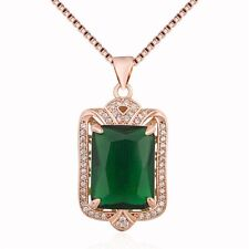 Rose Gold Plated Green Emerald Made with Swarovski Crystal Necklace