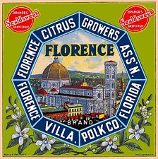 Florida Polk Florence Villa Venice Italy Orange Citrus Fruit Crate Label Print