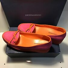 Bernardo Antwerp Suede Platform Loafer 8M US In Fucshia/Orange Orig. $90