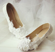 "1"" 2"" 3"" 4"" Wedding White Ivory Lace Bridal Bridesmaid Flat Heels shoes US 5-12"