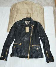 Burberry Brit Remmington Black Lamb Leather Biker Zip Cuff Jacket Coat UK10 US8