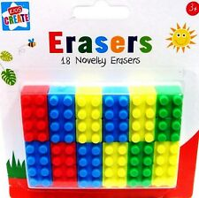 18 Novelty Pencil Erasers Shape of Lego Brick Rubbers Party Stocking Filler Gift