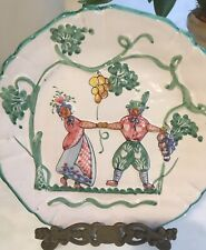 """Decorative Majolica Wall Plate """"Harvest Fair"""" Italy signed numbered 8"""" Dancers"""