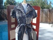 Miss Sixty Brown Beige Faux Fur Leather Women Short Sleeve Coat Jacket Vest Sz S