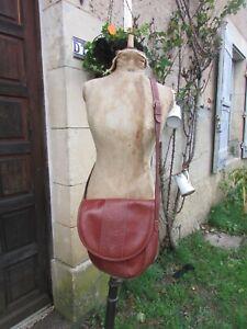 "Vintage ""Past Times"" Chestnut Leather Tooled Cross Body Bag Handbag"