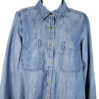 Eileen Fisher Blue Denim Button Front Blouse Top Shirt Size S Organic Cotton
