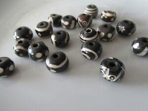 Jewellery Craft Design - Brown 12mm Round Chunky Batik Pattern Bone Bead Beads