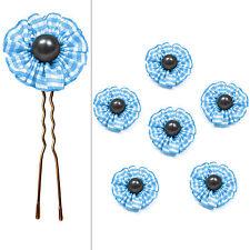 6 épingles pics cheveux chignon mariage mariée fleur vichy bleu perle grise