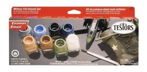 Testors 9131 Military Enamel Paint Set 8 Flat Colors with Thinner FREE SHIP