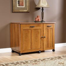 Sewing Machine Cabinet Wood Crafts Table Drop Leaf Shelves Storage Bins Natural