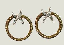 PREMIER QUALITY Gold Plated Crystal  Ehnanced  X Twisted Hoop Earrings
