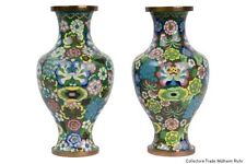 Cina 20. JH. vasi-a pair of Chinese CLOISONNE colonnine vases-cinese chinois