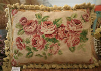 """19"""" Vintage Hand Crafted Needlepoint Pillow Cover French Country Rose Swirls"""