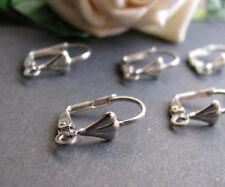6 Klappbrisuren in silber 1,7 x 1,1 cm, Ohrringe und Schmuck mit Perlen basteln,