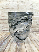 vtg hand blown marble swirl alabaster glass vase  abstract large 8x11