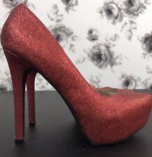 Charlotte Russe Red Glitter Sparkle Stiletto Platform Shoe Costume Size 9