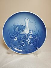 B&G Porcelain Mothers Day Royal Blue Plate 1973 Duck Ducklings Royal Copenhagen