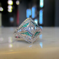 Cocktail Vintage Art Deco Engagement Ring VVS1 Diamond 1.7Ct 14K White Gold Over