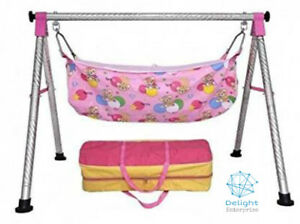 Portable Baby Cradle Folding Swing type Pink Colored Round Stainless Steel Body