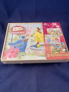 Disney Princesses 3 Wood Puzzles With Tray And Storage Box by Cardinal