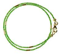 Chromdiopsid Wickel-Armband 925 Silber vergoldet Armkette Z279