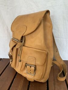 Distressed Authentic Tan Leather Backpack Bag