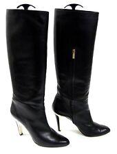 $1275 Jimmy Choo  Black Leather Knee-High Heeled Boots Size 42/12