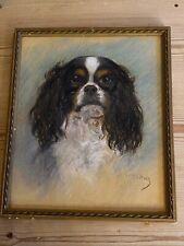 Orig Antique King Charles Spaniel Dog Pastel Painting 1915 Superb Quality